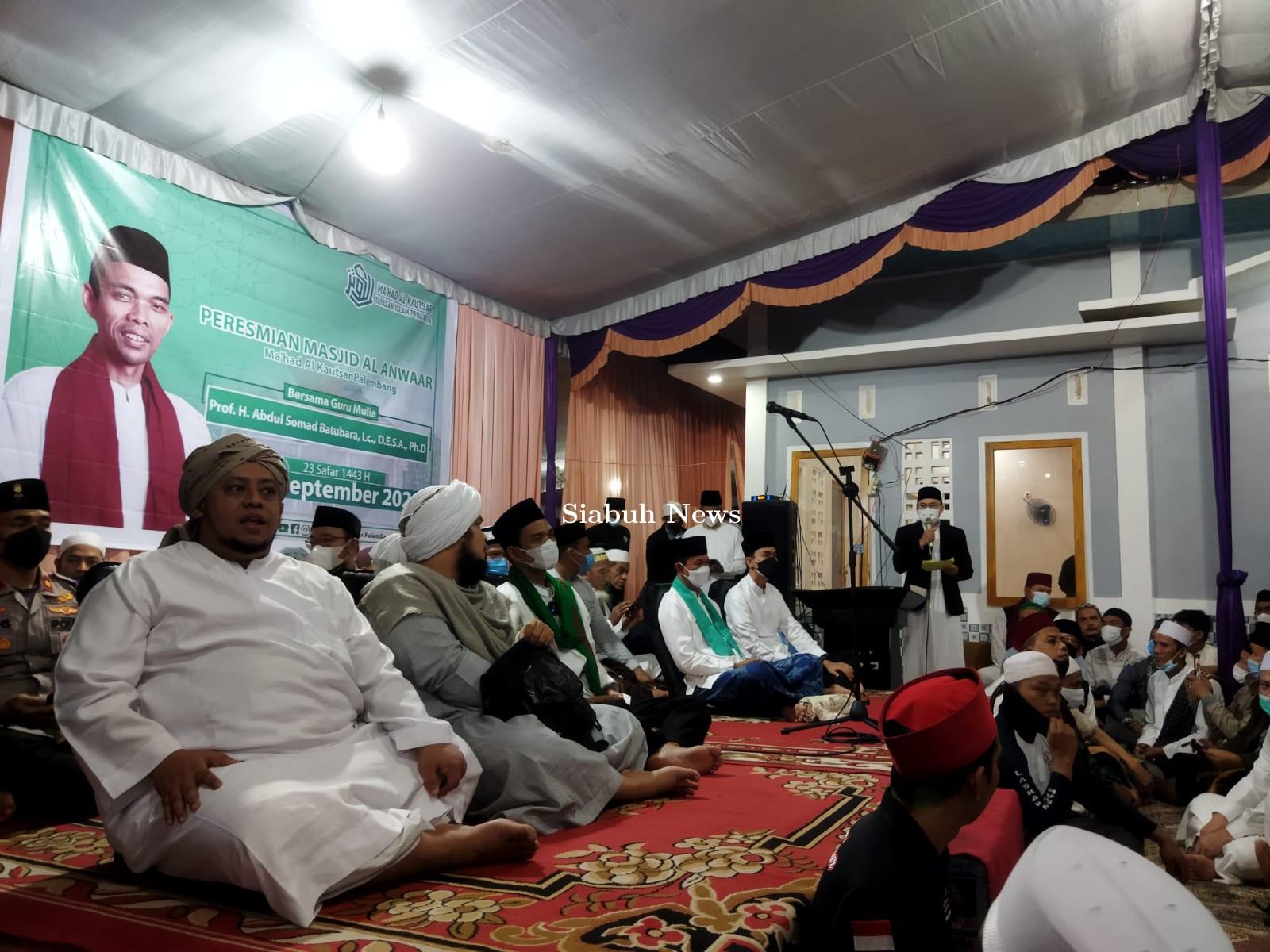 Hadiri Peresmian Masjid Al-Anwaar, Ustadz Abdul Somad Apresiasi Program 500 Ustadz Palembang EMAS
